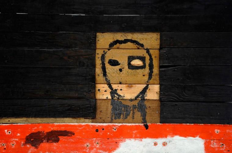 Luchando la vida, 2009. Mixta sobre madera. 79.5 x 119,5 cm