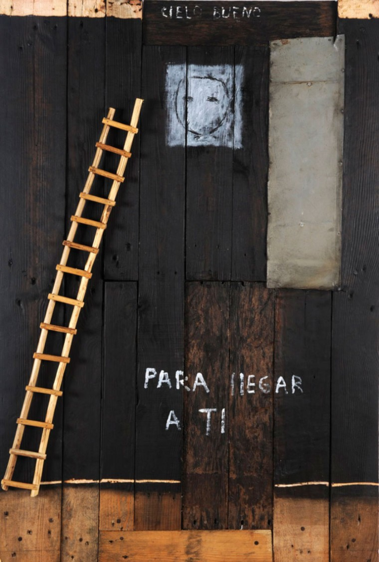 Para llegar a ti de la serie Un lugar en el mundo, 2009. Mixta sobre madera. 120 x 80 cm