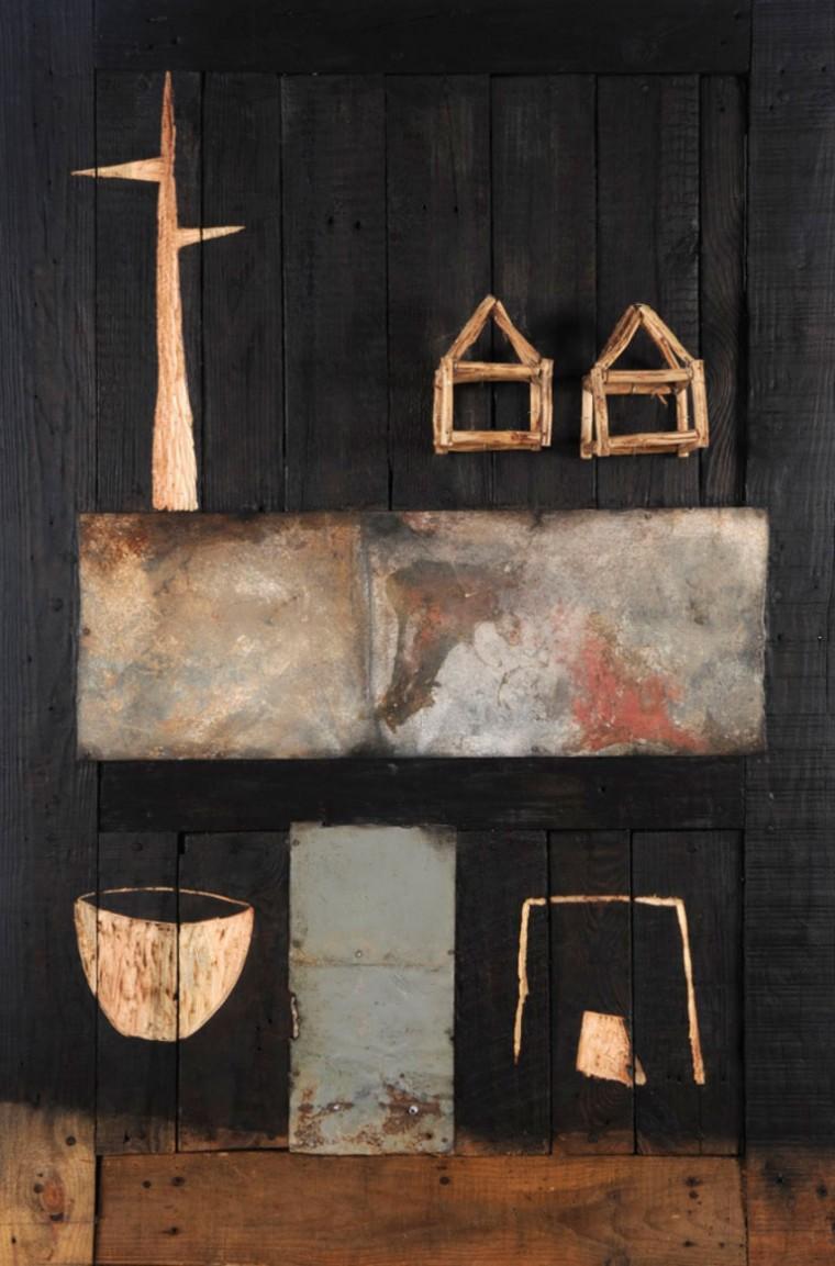 S-T de la serie Un lugar en el mundo, 2009. Mixta sobre madera. 120 x 80 cm