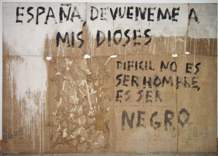 España Devuélveme a mis Dioses 2002, Mixta sobre Yute, 200 x 300 cm.