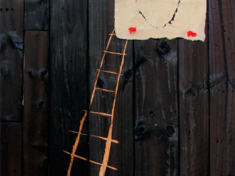 Aprendiendo a subsistir, 2016. Mixta sobre madera.120 x 80 cm