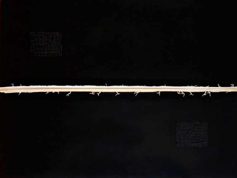 De la serie La piel que habla, 2014. Mixta sobre tela.150 x 200 cm