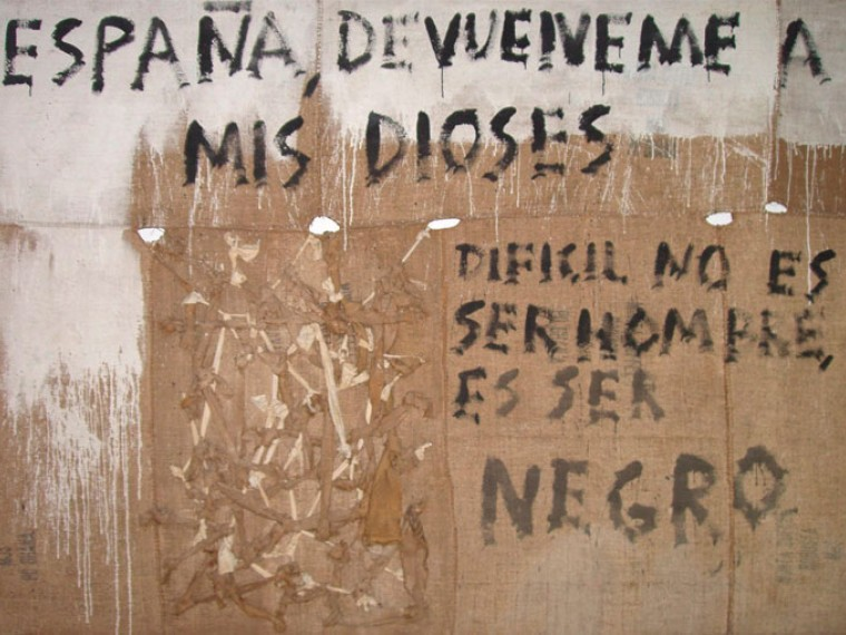 España devuélveme a mis dioses, 2000. Mixta sobre yute. 200 x 300 cm